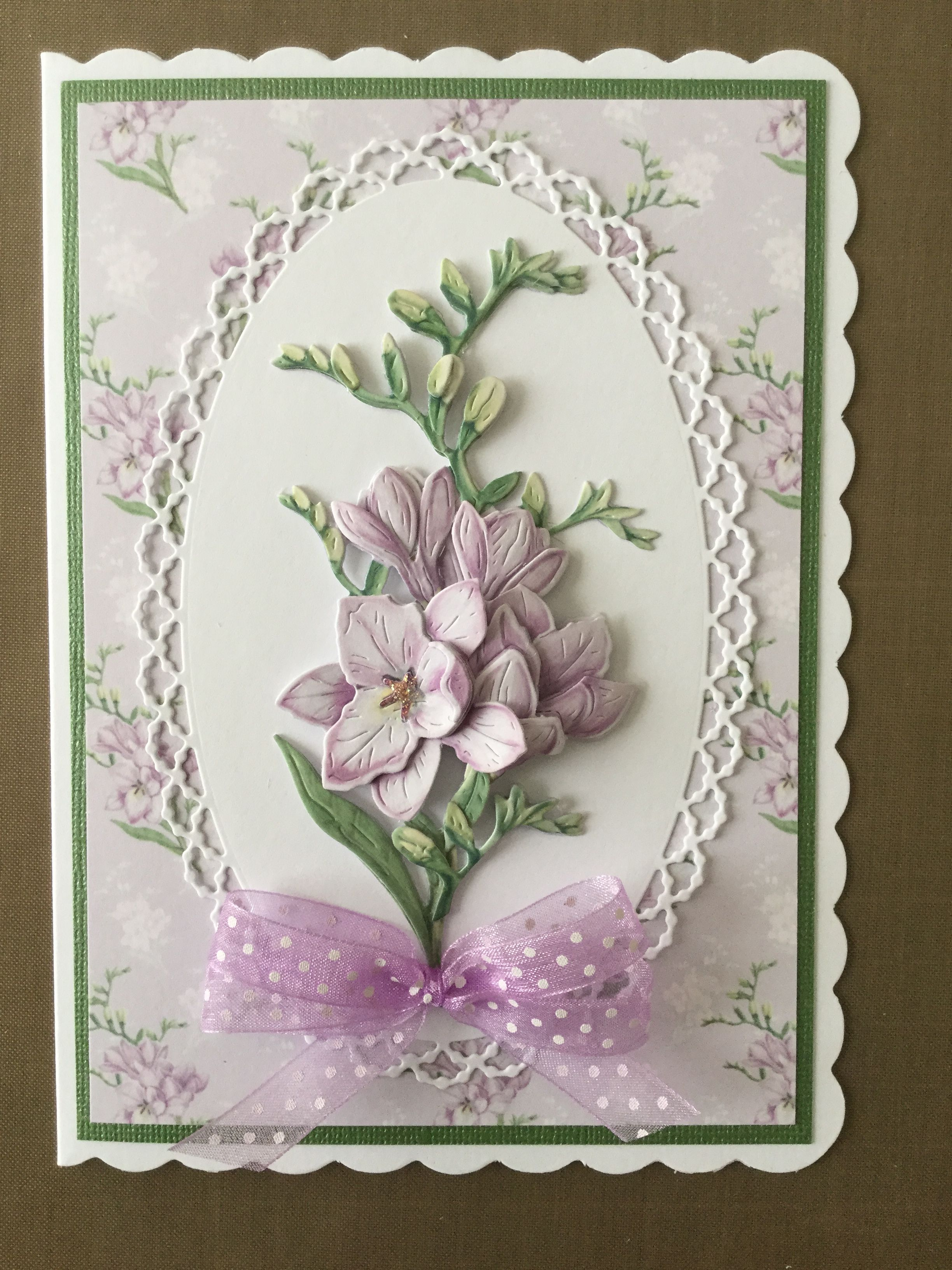 Card Made Using Tattered Lace Heiress Die And Backing Papers