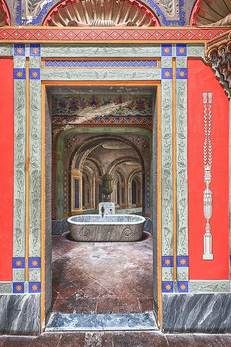 Castello di Sammezzano.Italy. La sala da bagno del Marchese.  Mediterranean colouring. Grand and simple at once.