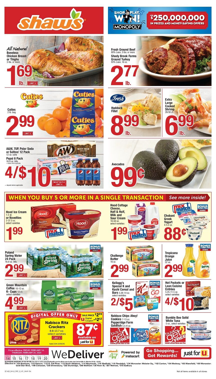 Shaw's Weekly ad Flyer Valid February 28 March 5, 2020