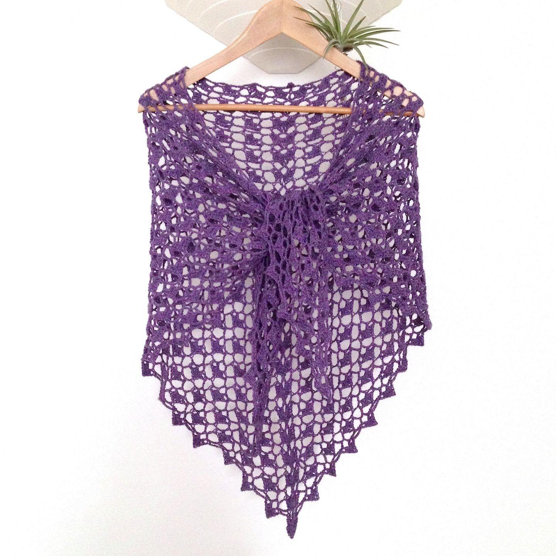 d0b0d8c861f4 Grand châle dentelle en 100% alpaga, couleur mauve violet, crocheté mains    Echarpe