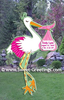 Personalized Stork Birth Announcement Sign For The Yard