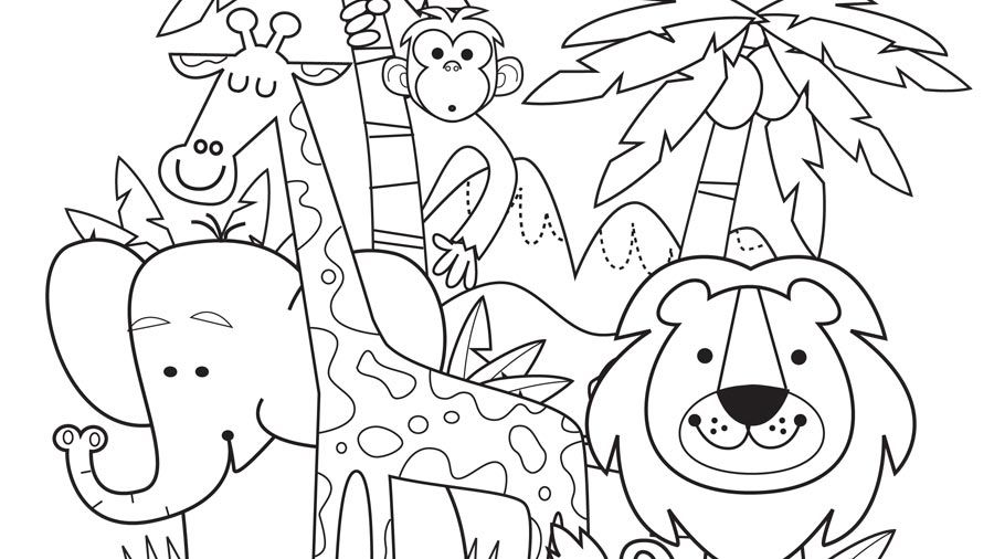 A lion, elephant, giraffe and monkey amongst trees   Tree ...   coloring pages for animals in the jungle