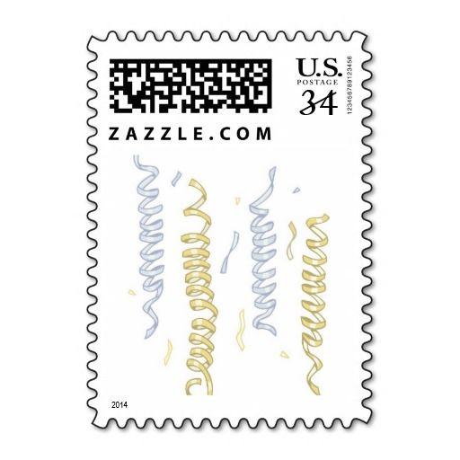 Postcard Wedding Celebration Party Streamers Stamp