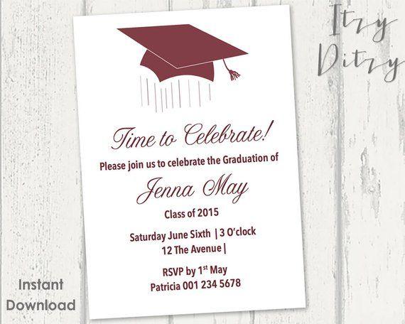 Graduation invitation template - Burgundy Mortarboard design