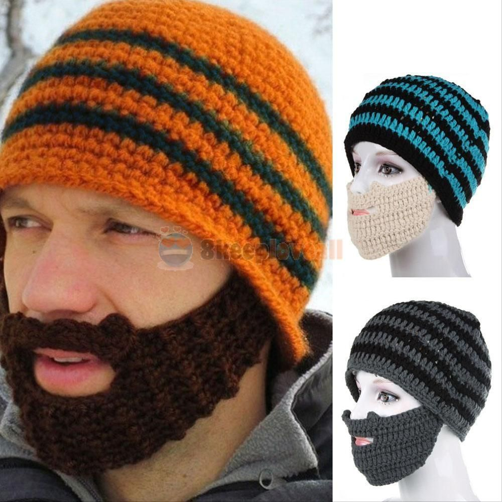 New Unisex Winter Knit Crochet Beard Beanie Mustache Mask Face Warm ...