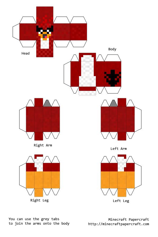 The Red Bird Minecraft Cutout Minecraft Paper Crafts