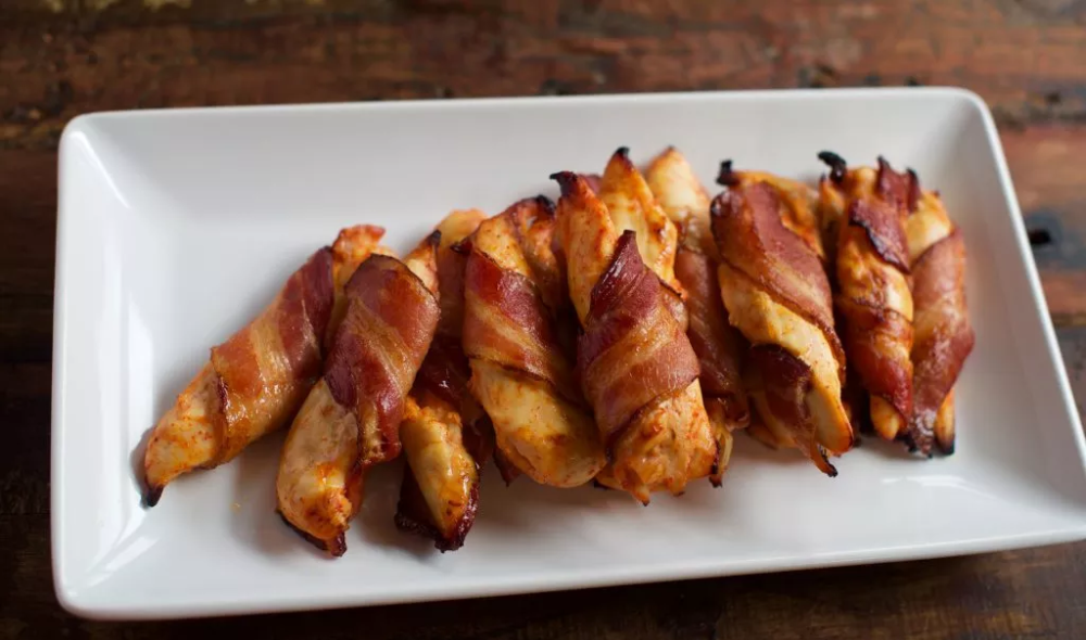 Gluten Free Bacon Wrapped Sriracha Chicken Tender - Simply So Healthy