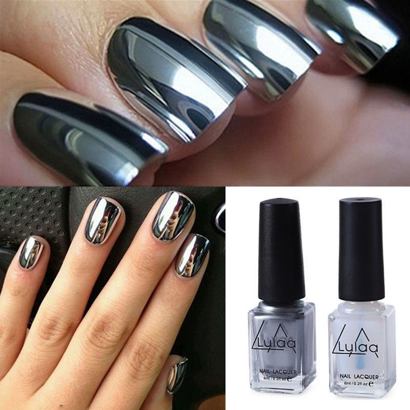 $3.14 - 2Pcs Nail Polish &Transparen Base Coat Mirror Effect Chrome ...