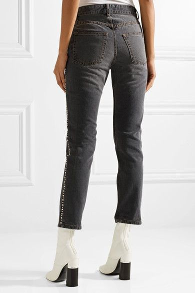 Ulyff Swarovski Crystal-embellished High-rise Slim-leg Jeans - Dark gray Isabel Marant ggRzwDR