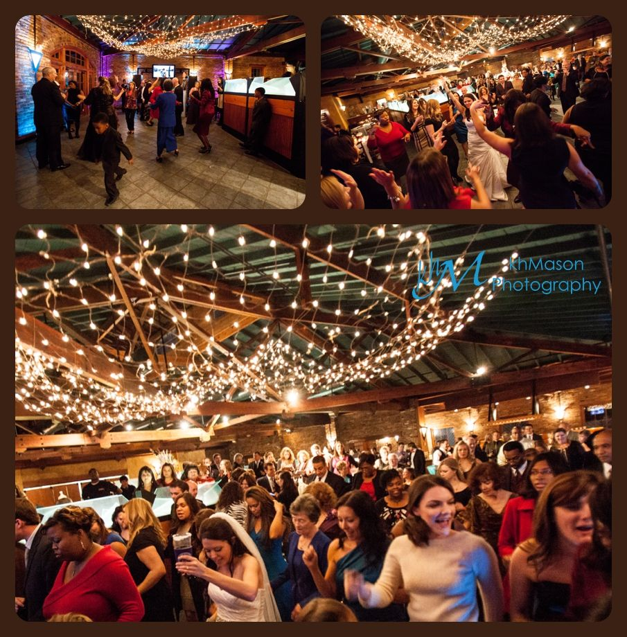 A Wedding Reception With Lights At The Blacksmith In Macon Ga