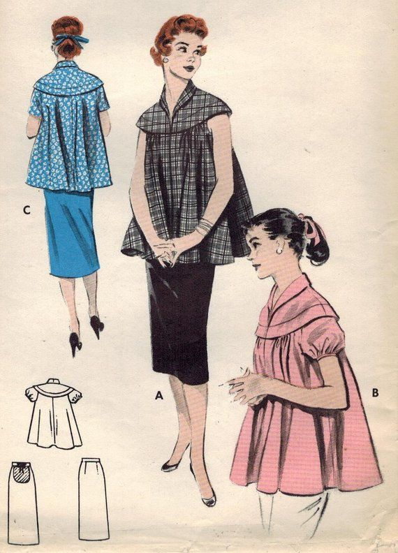adbfc5c8432ac 1950s Butterick 7388 Vintage Sewing Pattern Misses Maternity Pullover Top,  Skirt Size 16 Bust 34