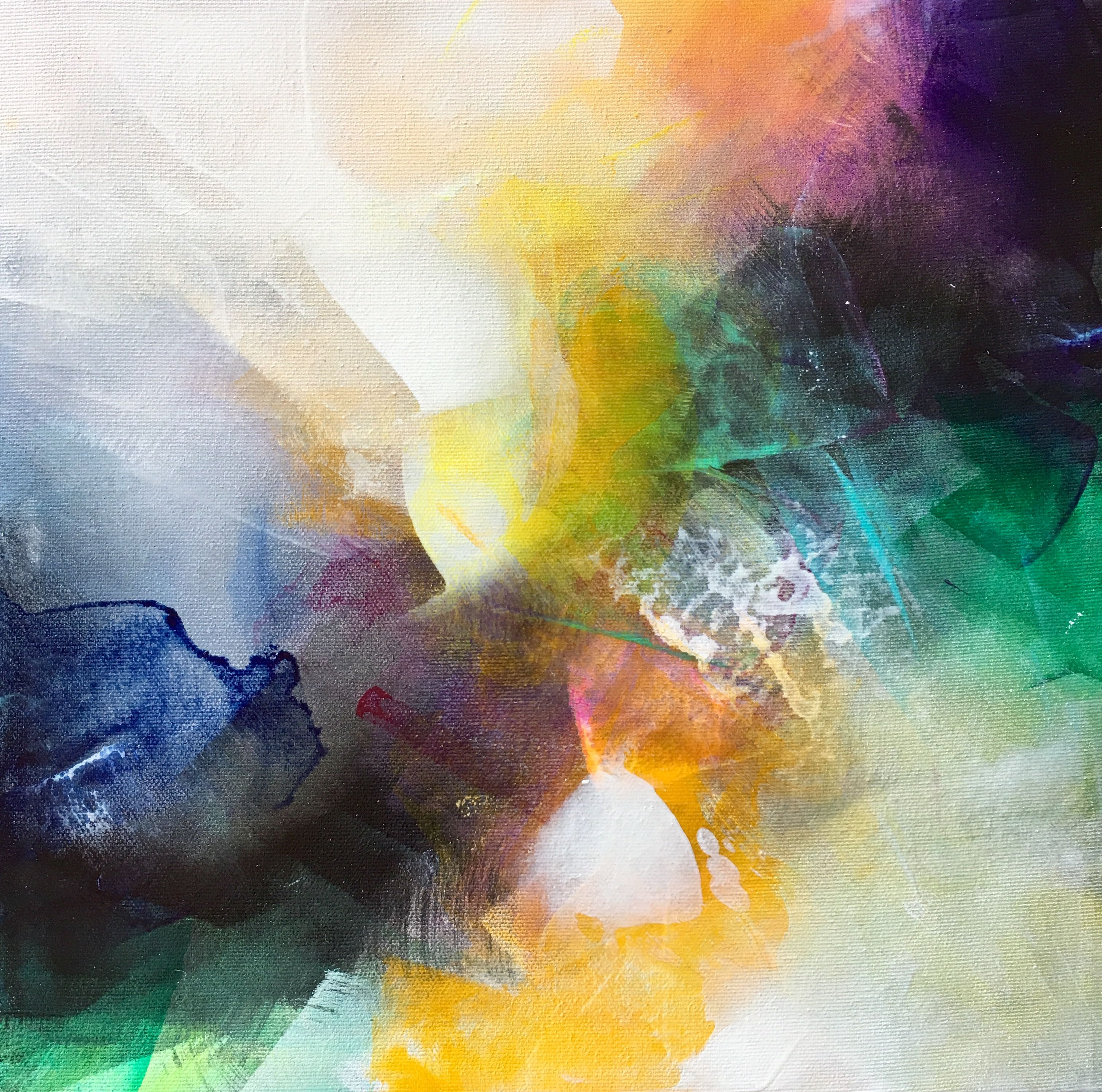 Mini Abstract Painting Joyful Thoughts 6 12x12 Acrylic On