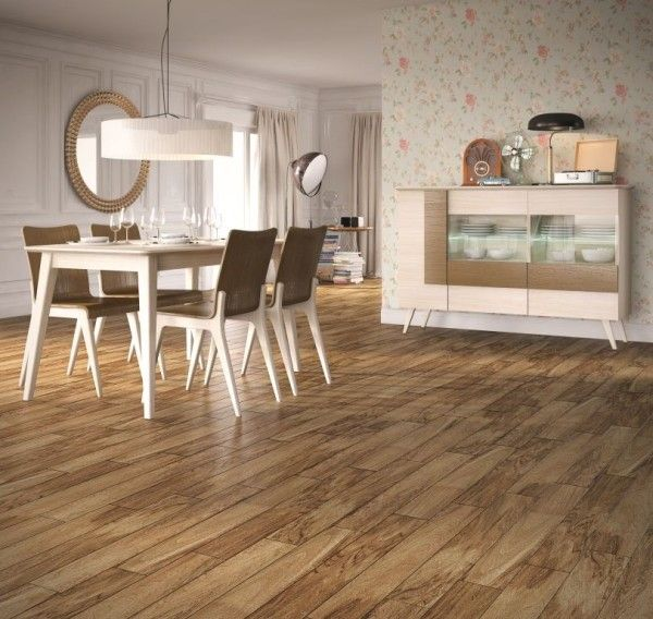Two Ceramic Floor Tiles That Look Like Wood  Fronda and Sauco     Sauco Miel 9x37 ceramic floor tile looks just like wood planks installed