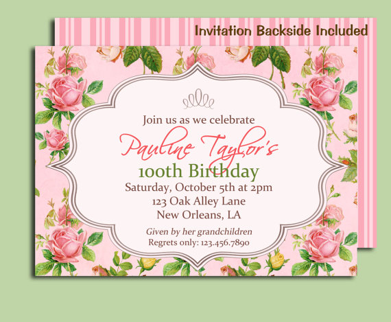 antique rose invitation printable or printed with free shipping, Birthday invitations