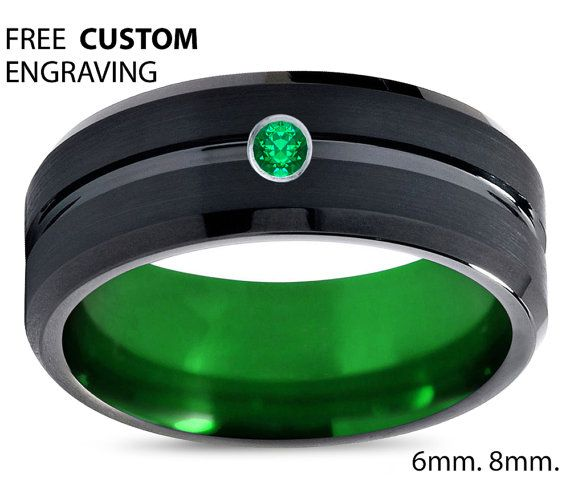Black Tungsten Green Ring Mens Wedding Band Ring Green Emerald Tungsten Carbide 8mm Mens Diamond Wedding Bands Mens Wedding Bands Emerald Engagement Ring Green