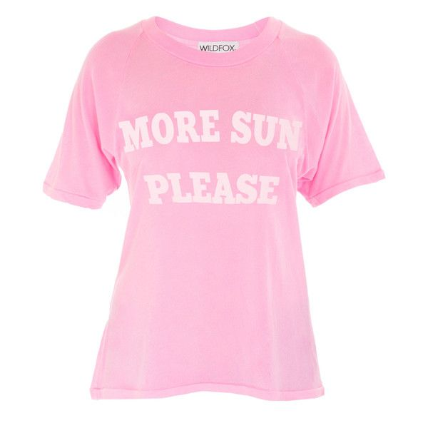 Wildfox More Sun Tee ($200) ❤ liked on Polyvore featuring tops, t-shirts, scoop neck top, graphic design t shirts, short sleeve t shirts, graphic print t shirts and short sleeve tee