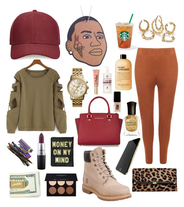 """""""TRAP LOVE"""" by ak47shorty ❤ liked on Polyvore featuring Whistles, WearAll, Palm Beach Jewelry, Anastasia Beverly Hills, Timberland, MICHAEL Michael Kors, philosophy, MAC Cosmetics, Diane Von Furstenberg and Deborah Lippmann"""