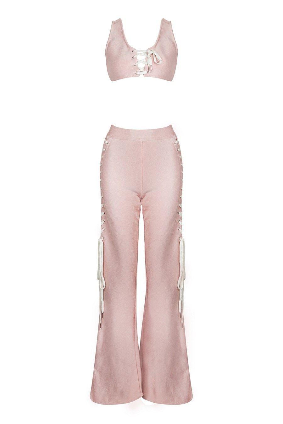 3135896b9d1 Honey Couture BONNY-LEE Pink Lace Up Crop Top   Slit Bandage Pant ...
