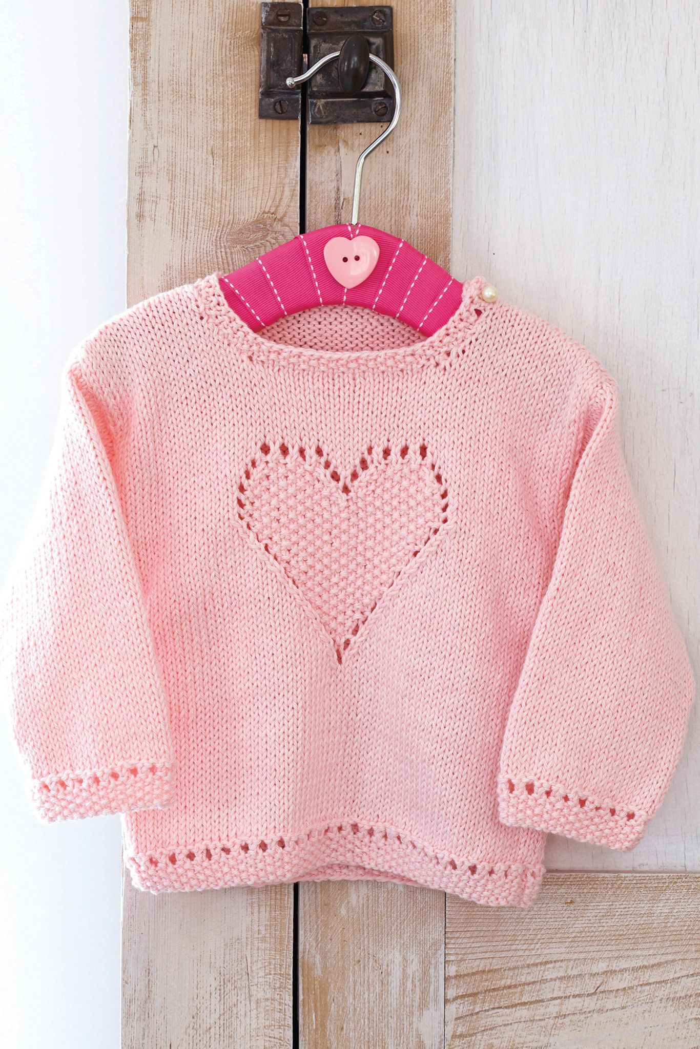 47a6950c38139 Knitted pink sweater for little girls with heart design on front ...