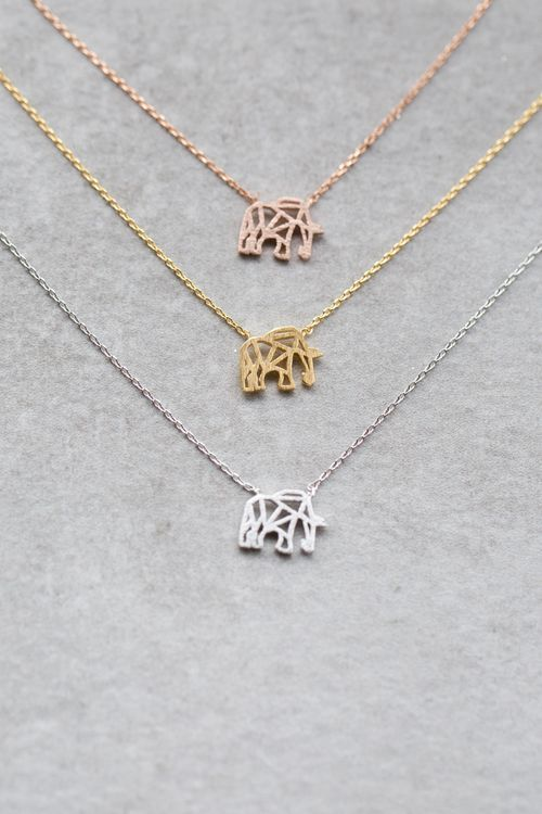 Cute elephant necklace in gold rose gold and silver Animal