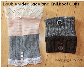 Cute, easy, and affordable DIY! My three favorite things in a DIY! S{Thomp}ing Ground: Double Sided Lace & Knit Boot Cuffs