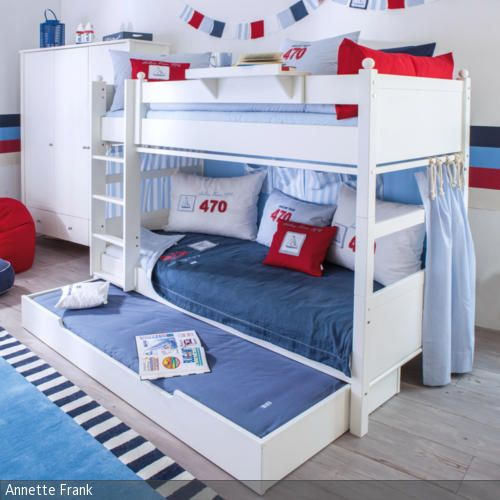 perfekt eingerichtetes etagenbett mit schublade im maritimen kinder und jugendzimmer fr jungen - Coolste Etagenbetten