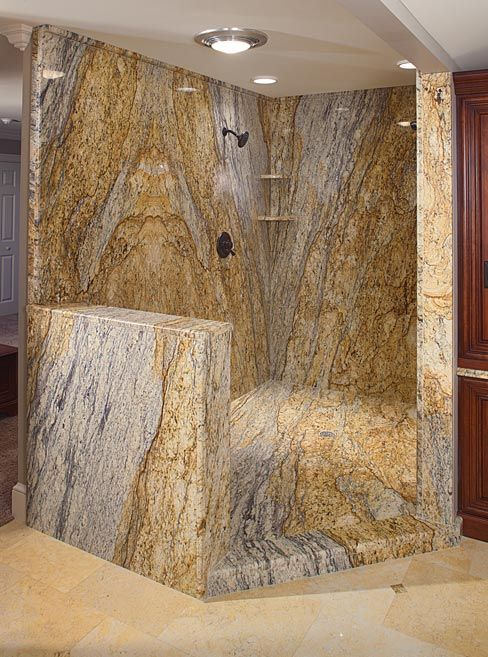 The Shower Consists Of 6 Of Those 10 Yellow River Granite Slabs And The Tub Consists Of 2 Slabs The Countertops And Granite Bathroom Stone Slab Bullnose Tile