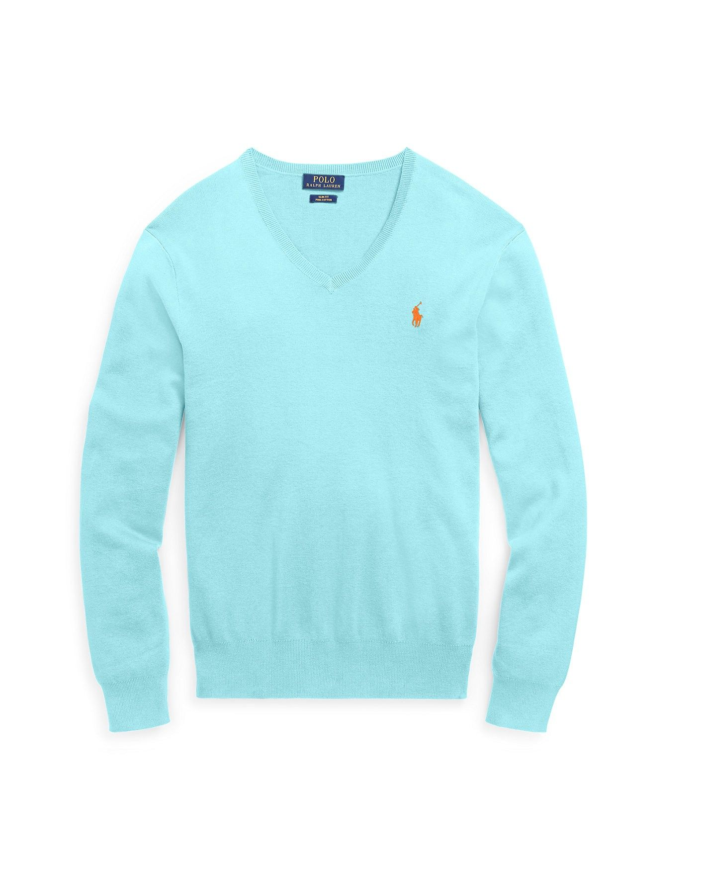 V Cotton Slim Polo ralphlauren Neck Lauren Fit Ralph Sweater wIOPqXxEX