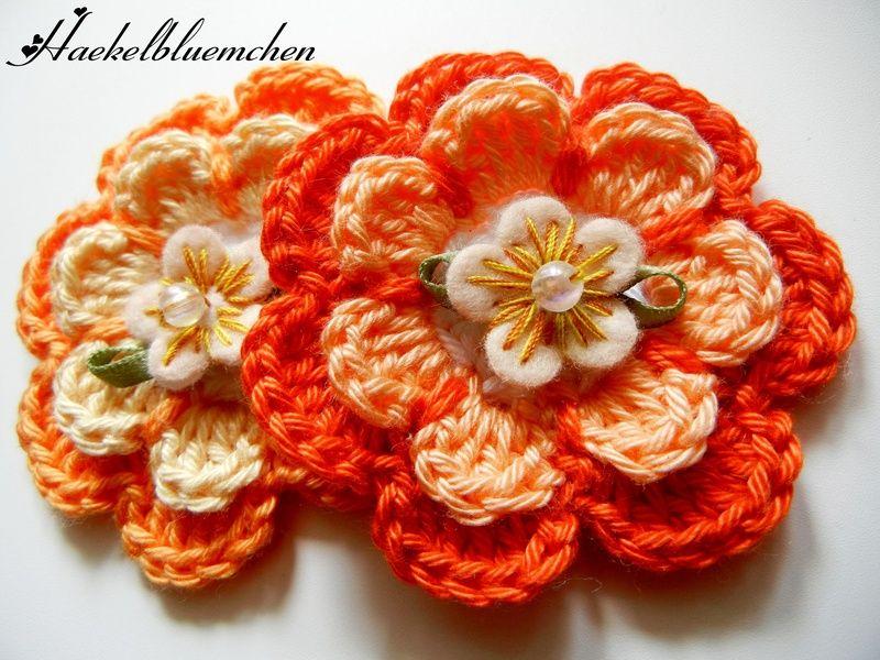 2 Große 3d Häkelblumen Haekelbluemchen Crochet Patches Häkeln