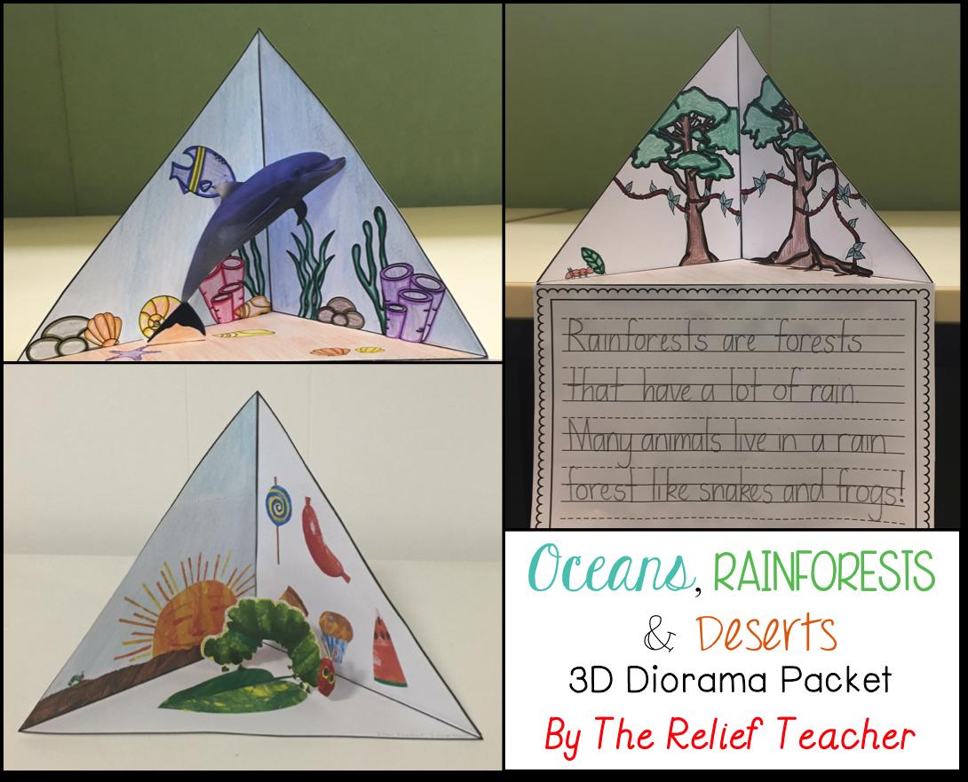 Oceans Rainforests Amp Deserts 3d Diorama Triorama Packet