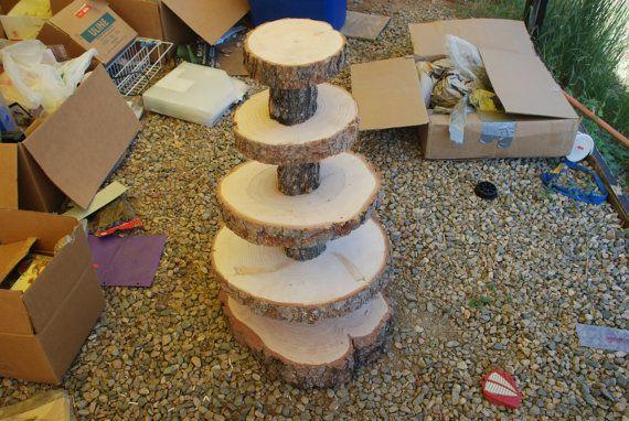 Custom for Bri  Rustic Wood Tree Slice 5-tier by postscripts