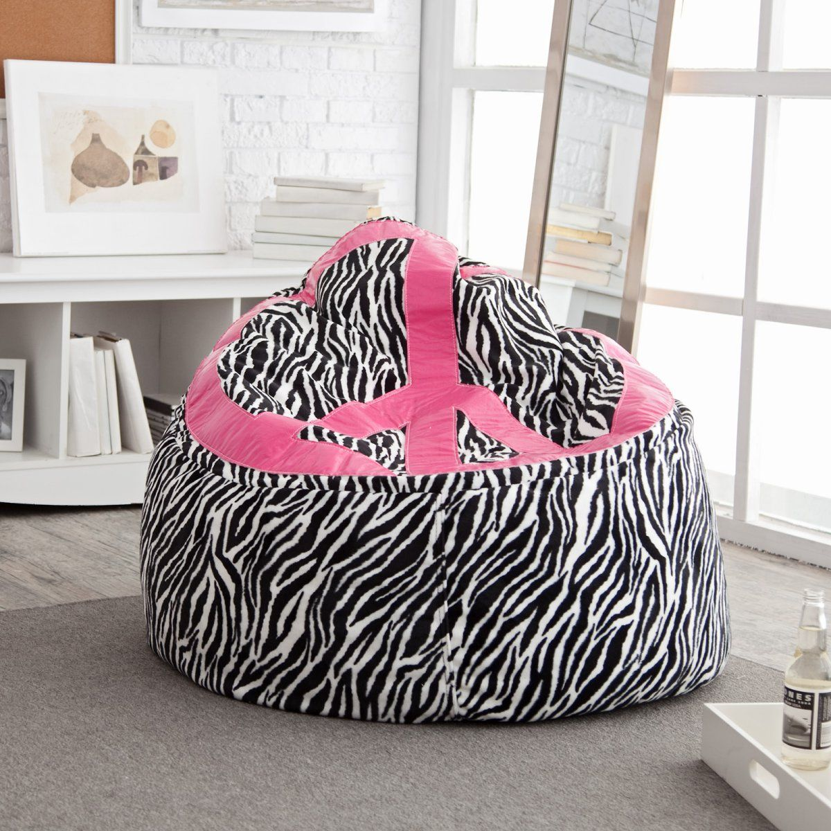 Zebra Print Bean Bag Chair Human Touch Massage Costco Peace Sign Tweens At Hayneedle