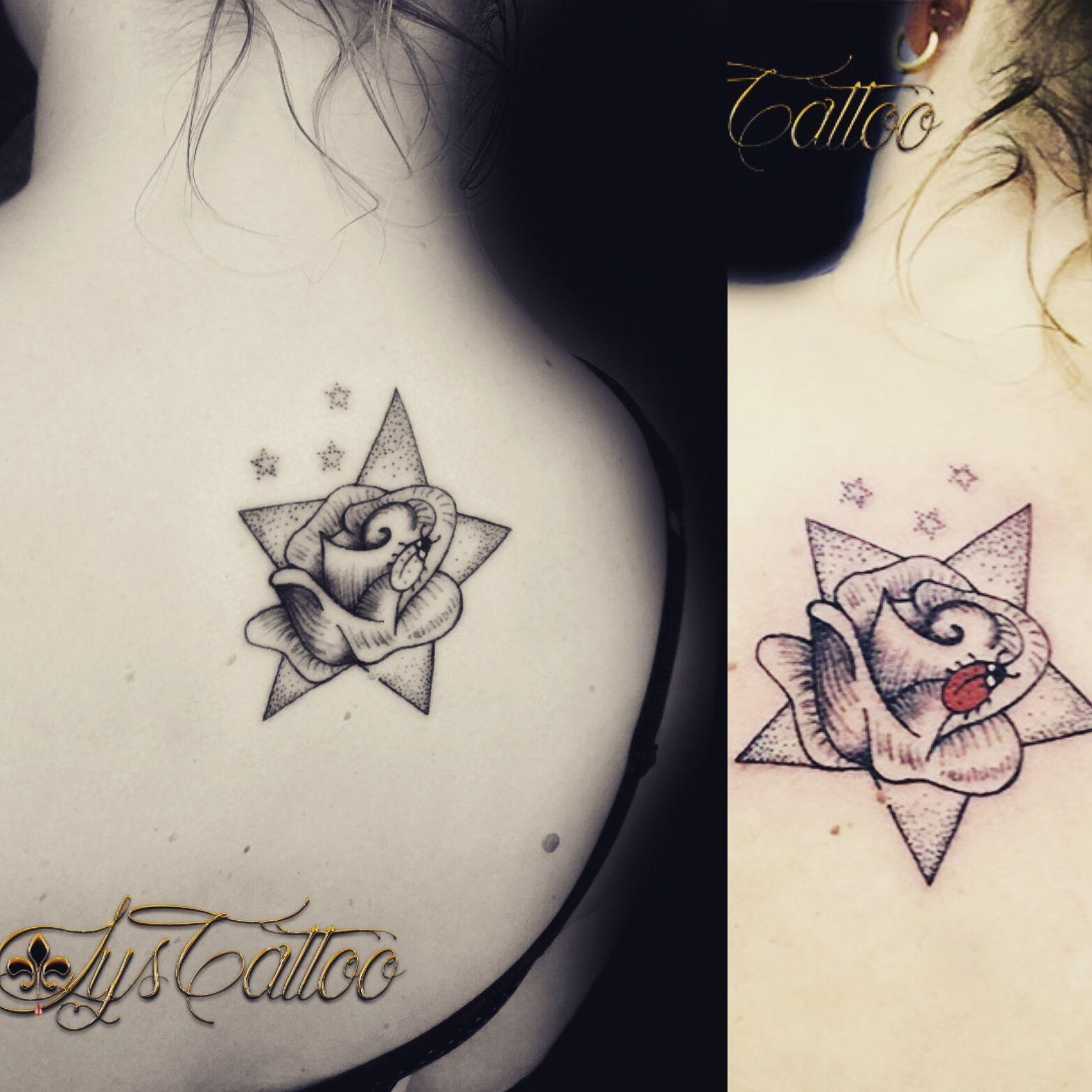 tatouage femme prenom et coccinelle