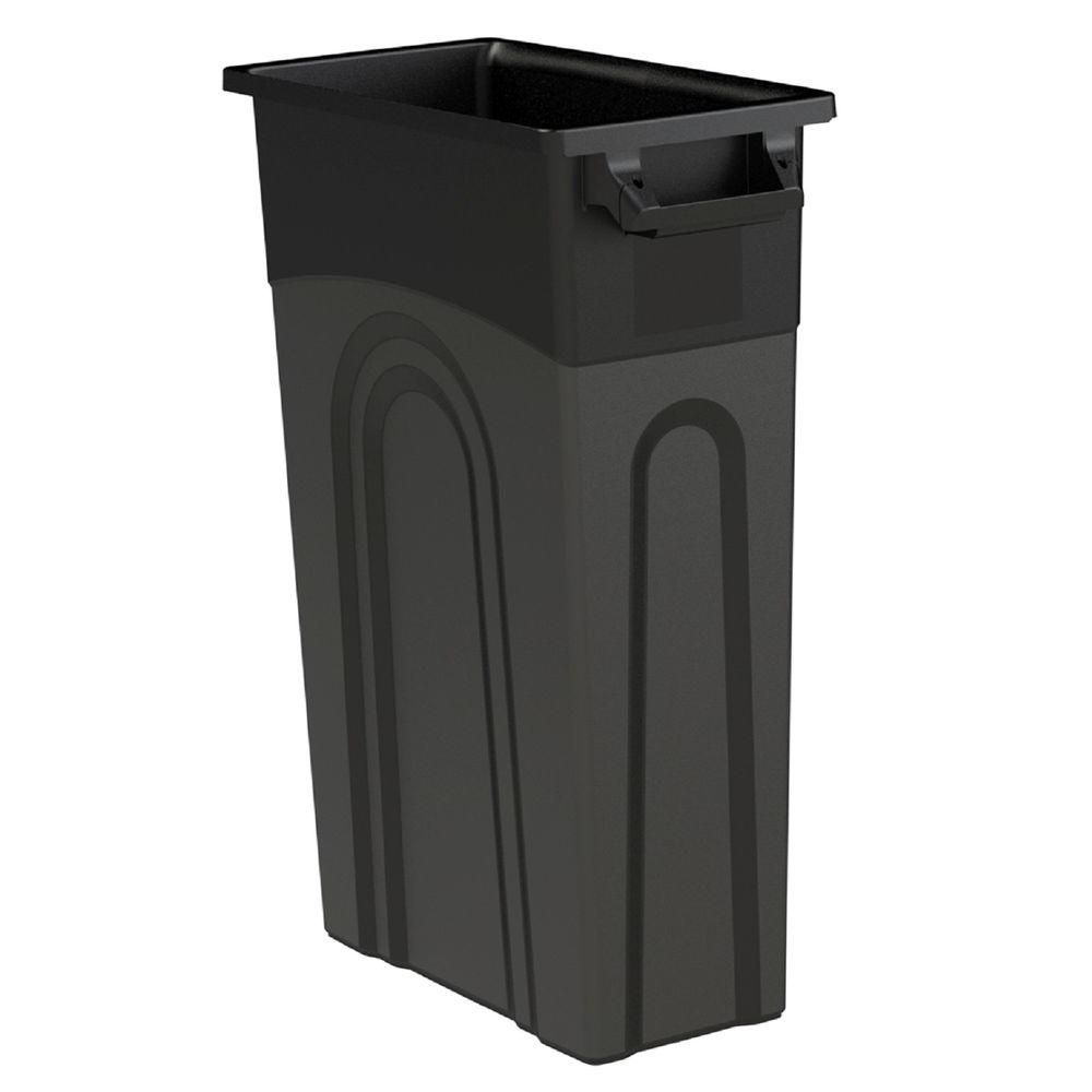 united solutions 23 gal. black highboy waste container