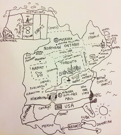 """A Torontonian's map of the known world"".  I grew up in the ""farms"" area.  This is a very accurate description of the attitude of Toronto!  Very funny!"