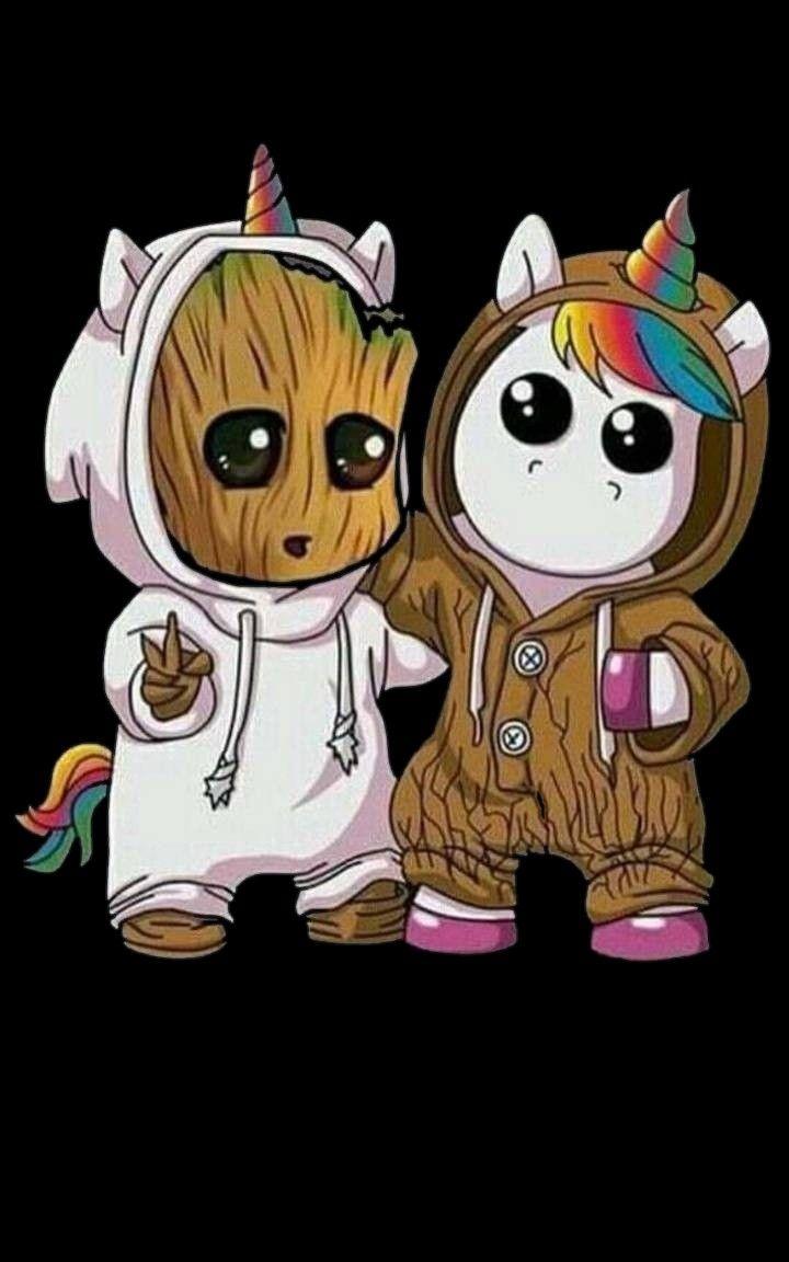 Bébé Groot et Bébé Licorne en 2020   Dessin licorne kawaii ...