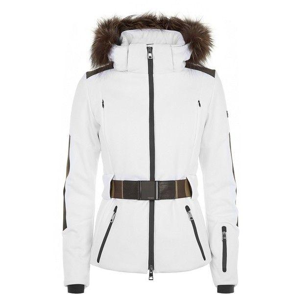 Fendi Pequin White Ski Jacket With Fur Trim ( 1 2926a1c59
