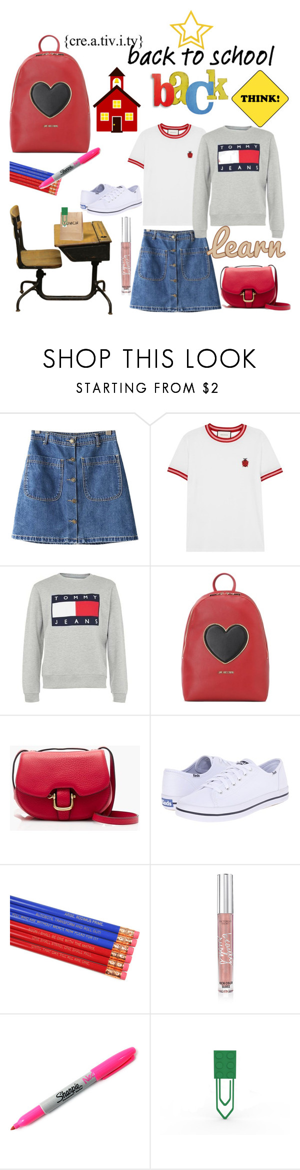 """Back to school."" by cradee ❤ liked on Polyvore featuring Chicnova Fashion, Gucci, Tommy Hilfiger, Love Moschino, J.Crew, Keds, Victoria's Secret, Sharpie and onmydesk"