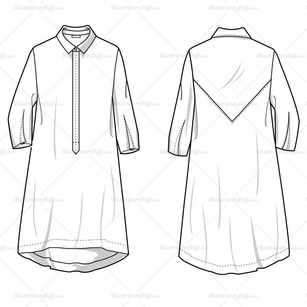 Women's Shirt Dress Fashion Flat Template en 2018