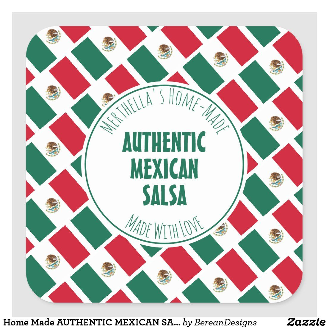 Home Made AUTHENTIC MEXICAN SALSA Square Sticker | Zazzle.com