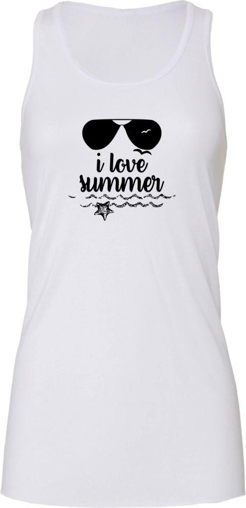 I LOVE SUMMER - Tee-shirt Blanc - I love summer, J aime l été, J ... 3473549297f0