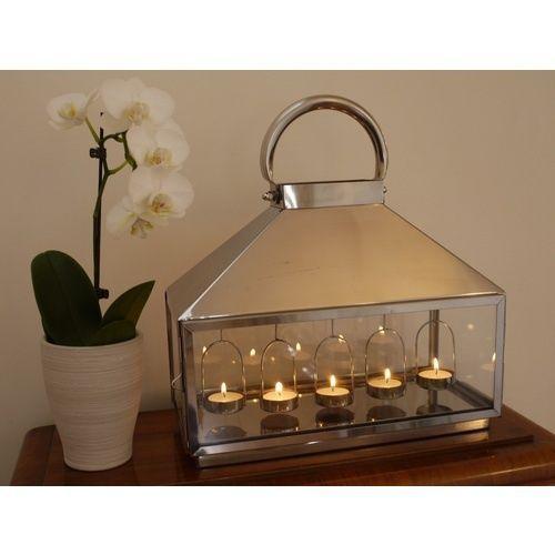 Stainless steel silver large tea light lantern luxury fireplace ...