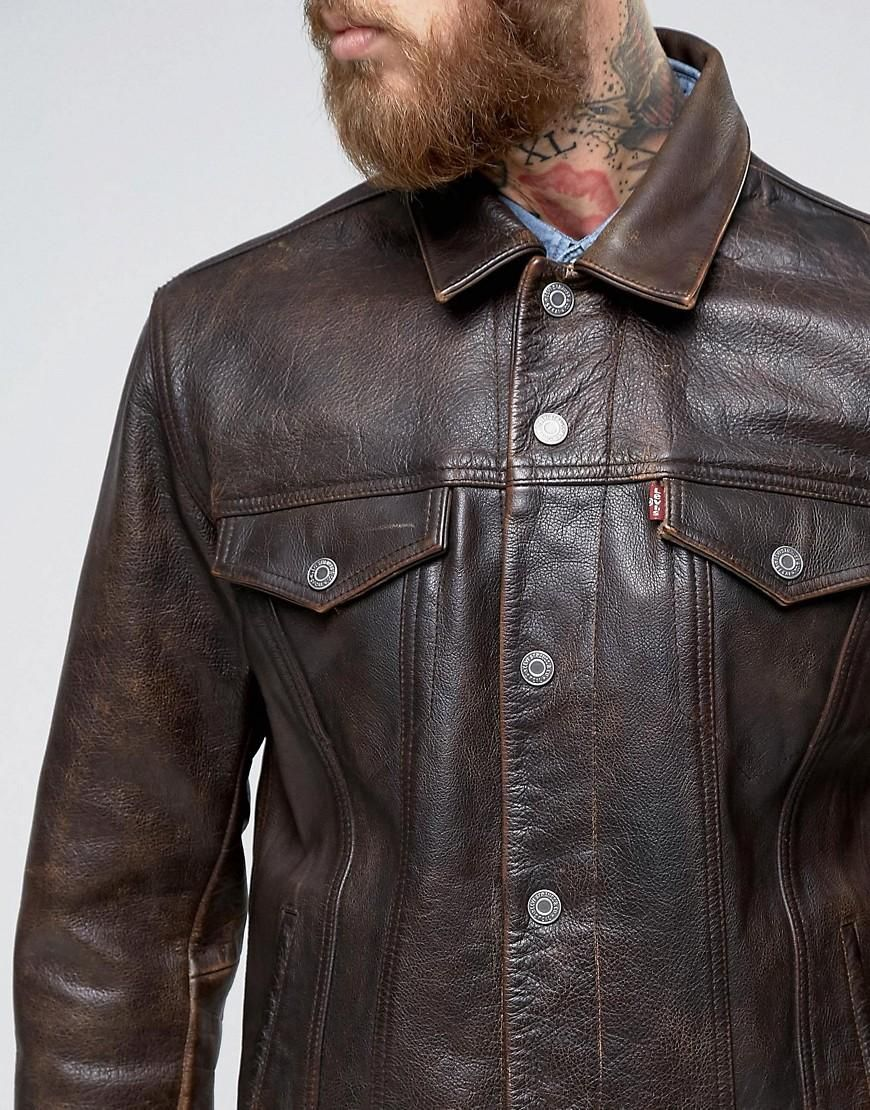 Levi S Brown Leather Trucker Jacket
