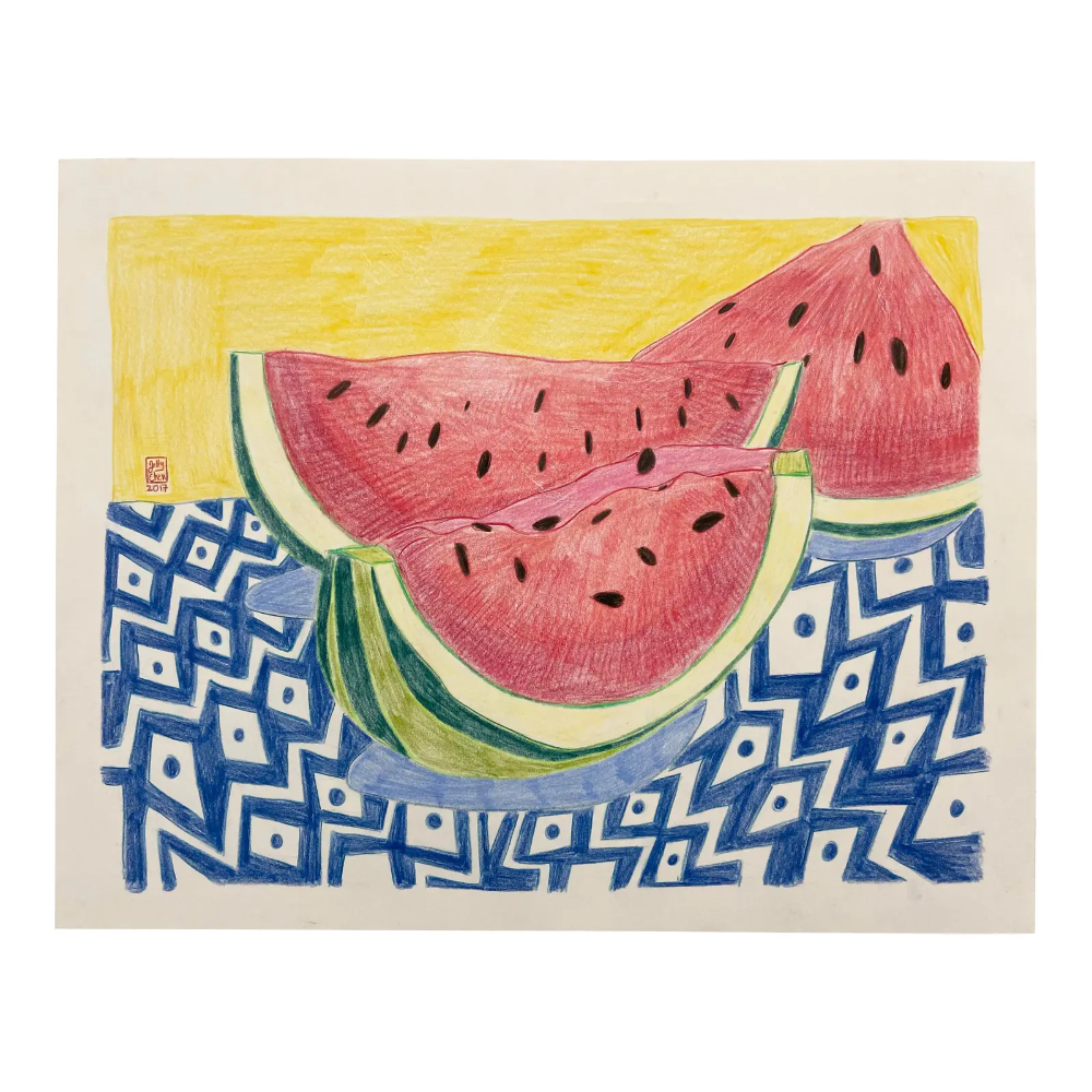 Watermelon Wedges Drawing Chairish Drawings Fine Art Drawing Color Pencil Drawing [ 1000 x 1000 Pixel ]