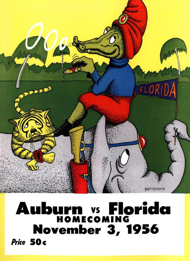 1956 Florida Gators Vs Auburn Tigers 22x30 Canvas Historic Football Poster Football Poster College Football Games Auburn