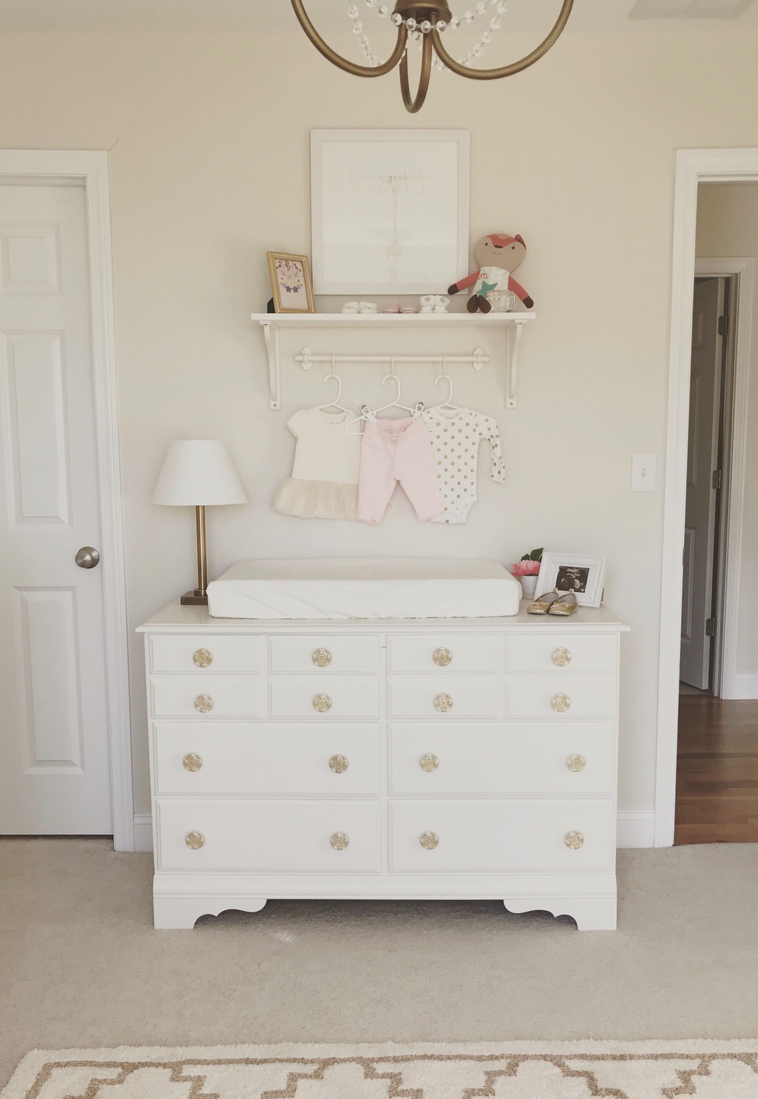 Neutral White Gold And Blush Pink Nursery White Dresser Baby