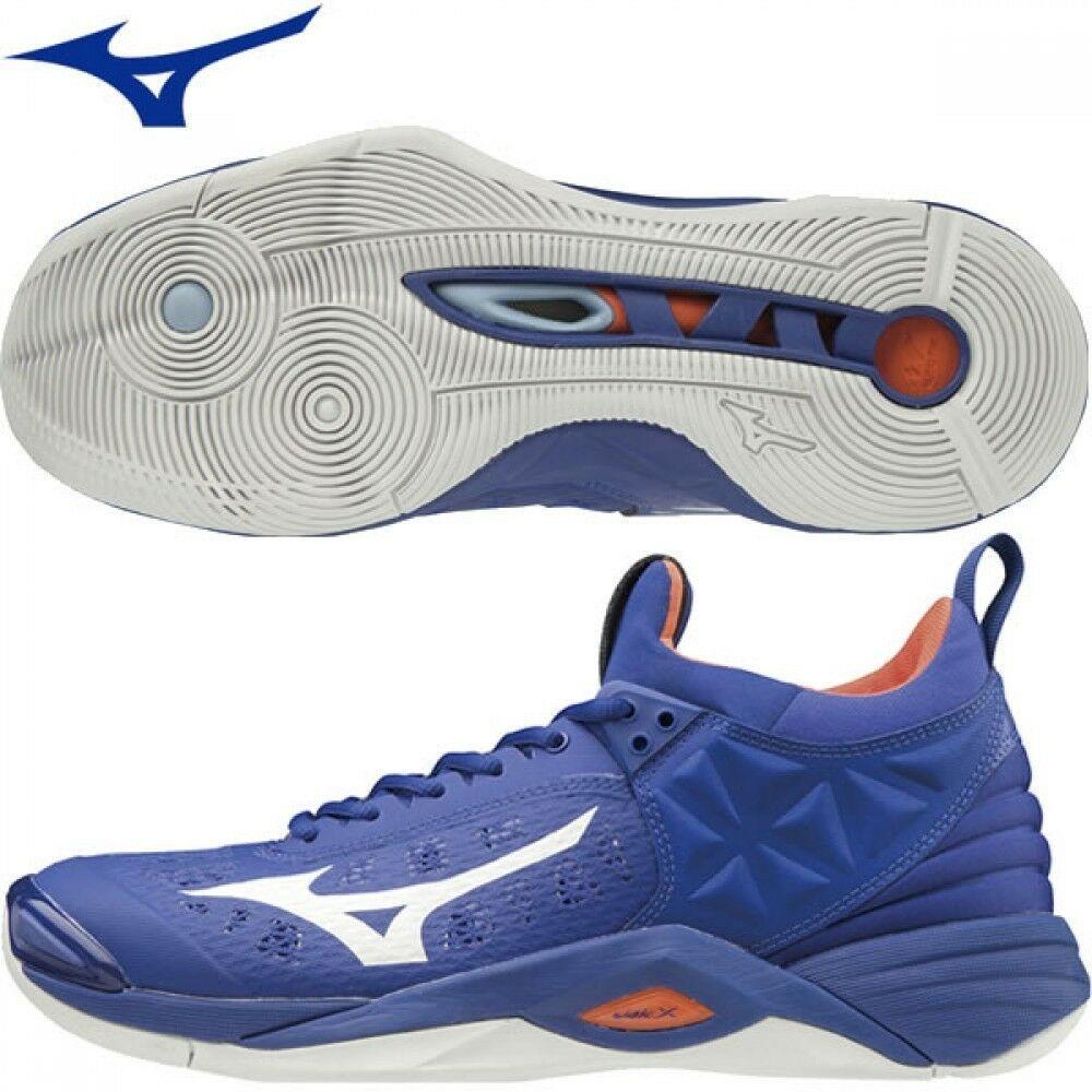 New Mizuno Men S Wave Momentum Low Volleyball Shoes V1ga1912 Blue Orange Volleyball Shoes Volleyball Knee Pads Mizuno