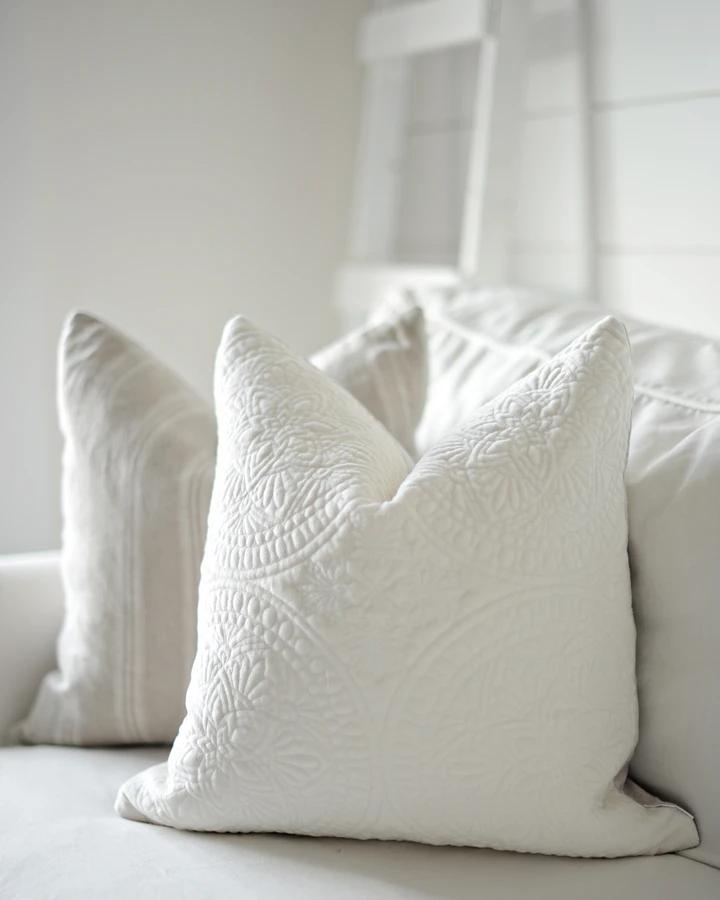 off white velvet medallion in 2020 White velvet, Pillows