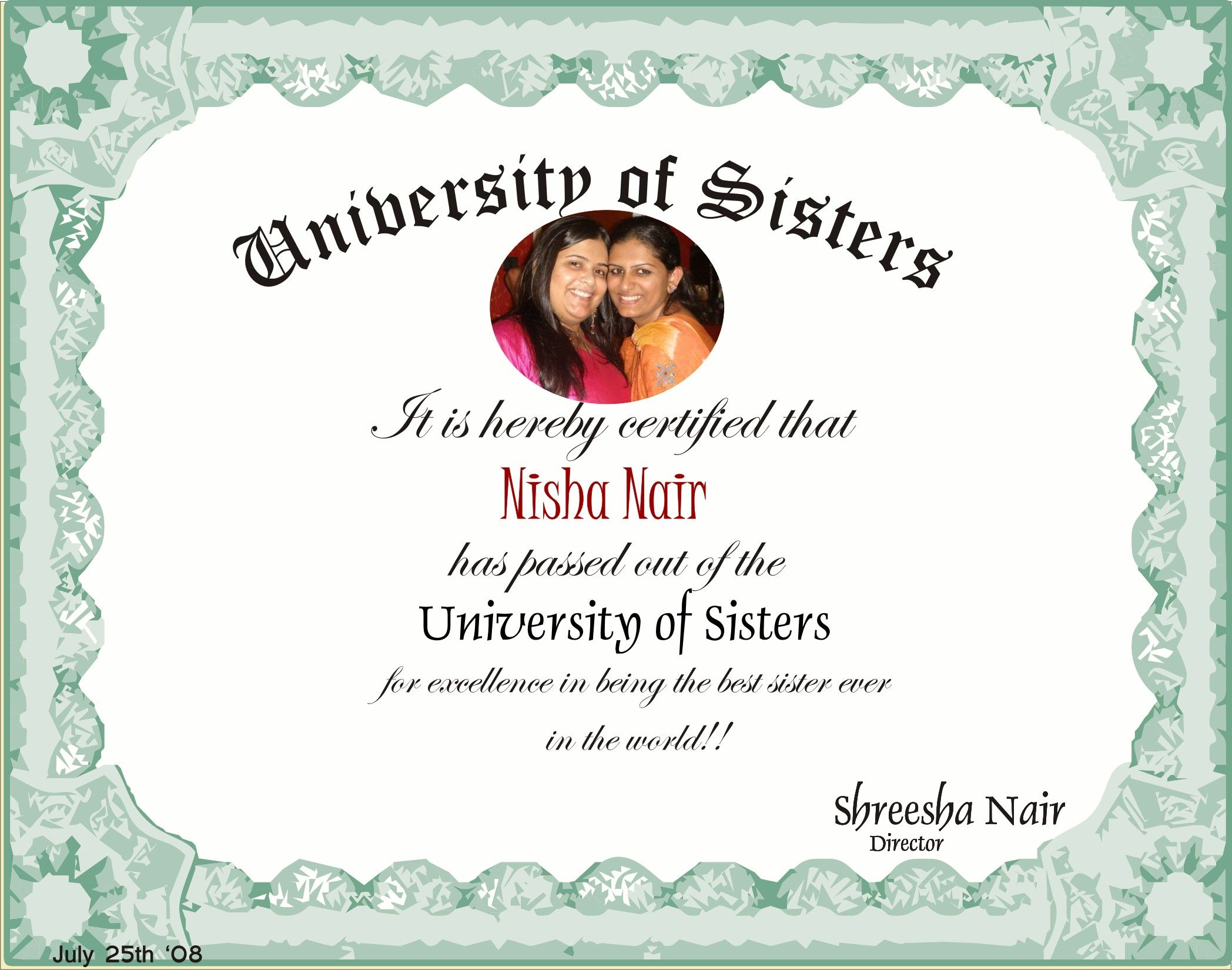 Customized Certificate For Your Sister Declaring Her The Super Best