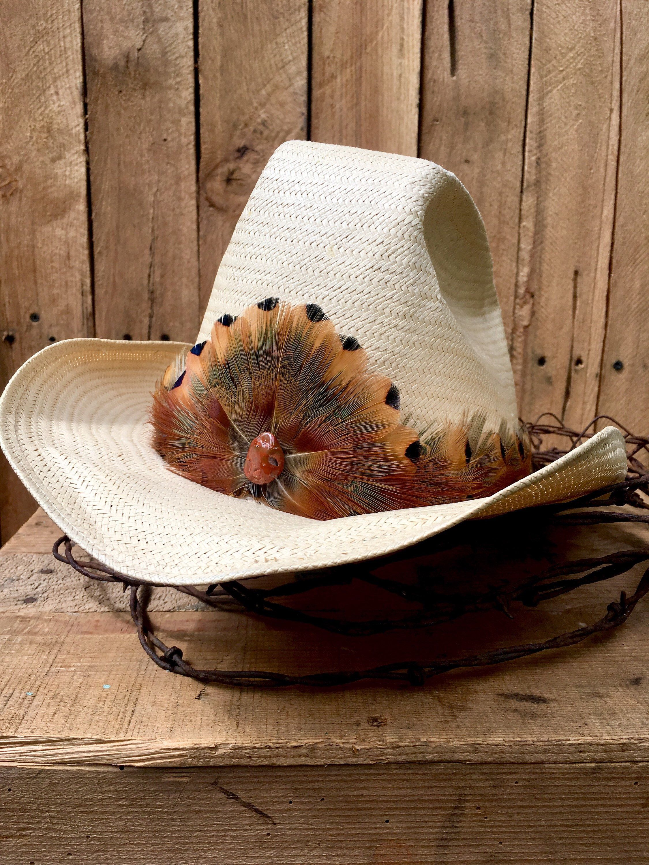 Cowboy Feather Hat Band With Pheasant Feathers In Golden Brown Etsy Feather Hat Hat Band Western Hat Bands